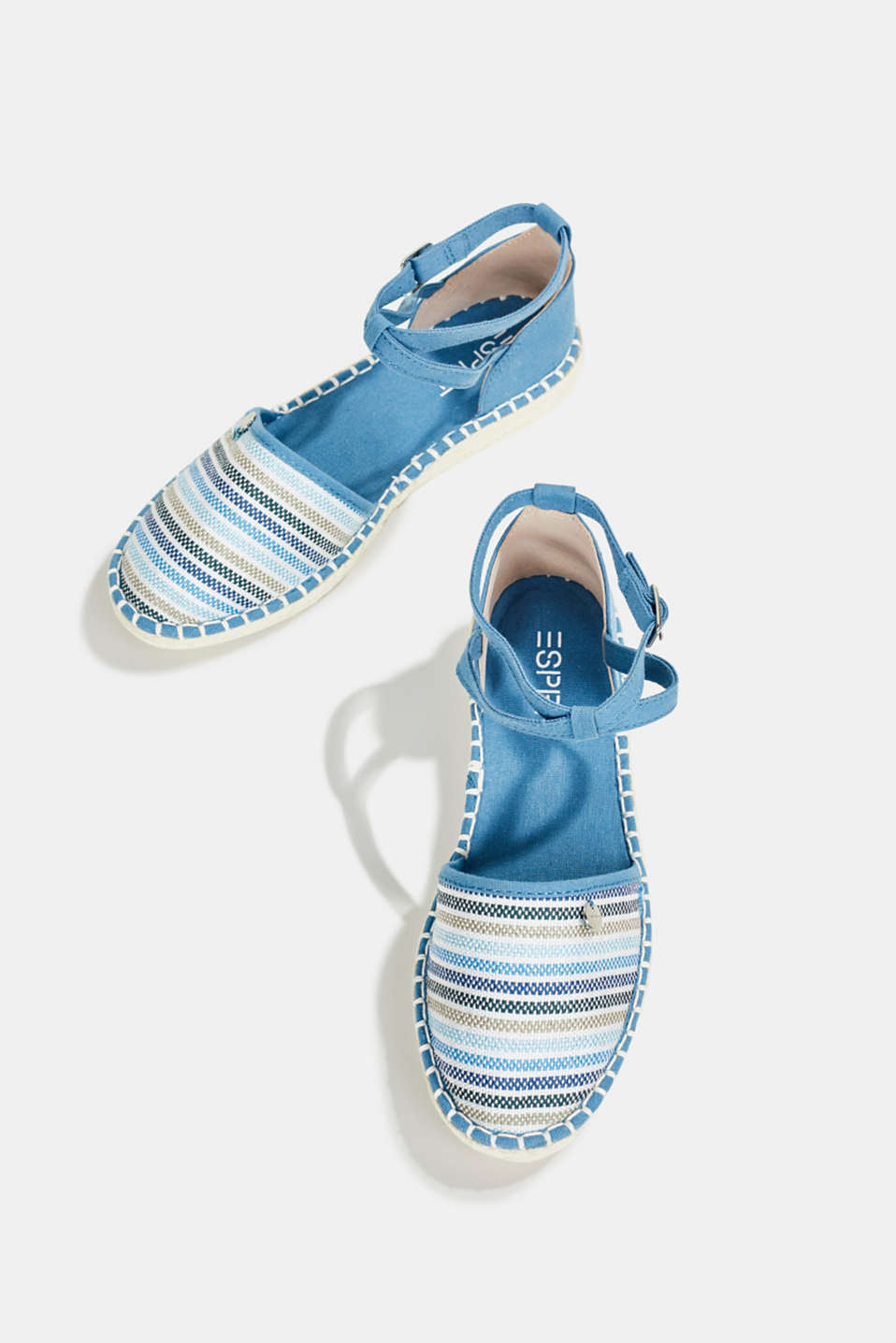Espadrille sandals with stripes, GREY BLUE, detail image number 1