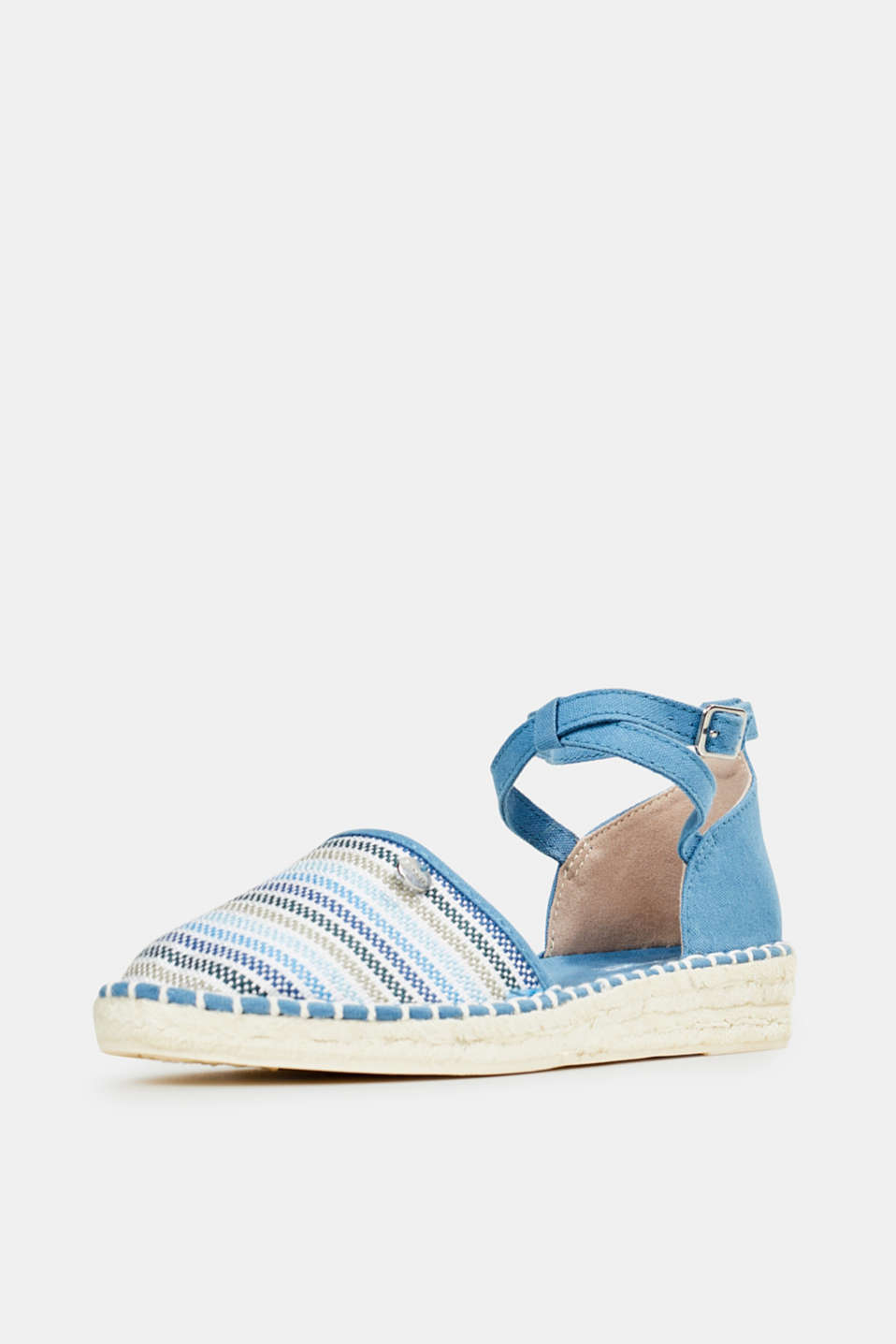Espadrille sandals with stripes, GREY BLUE, detail image number 2