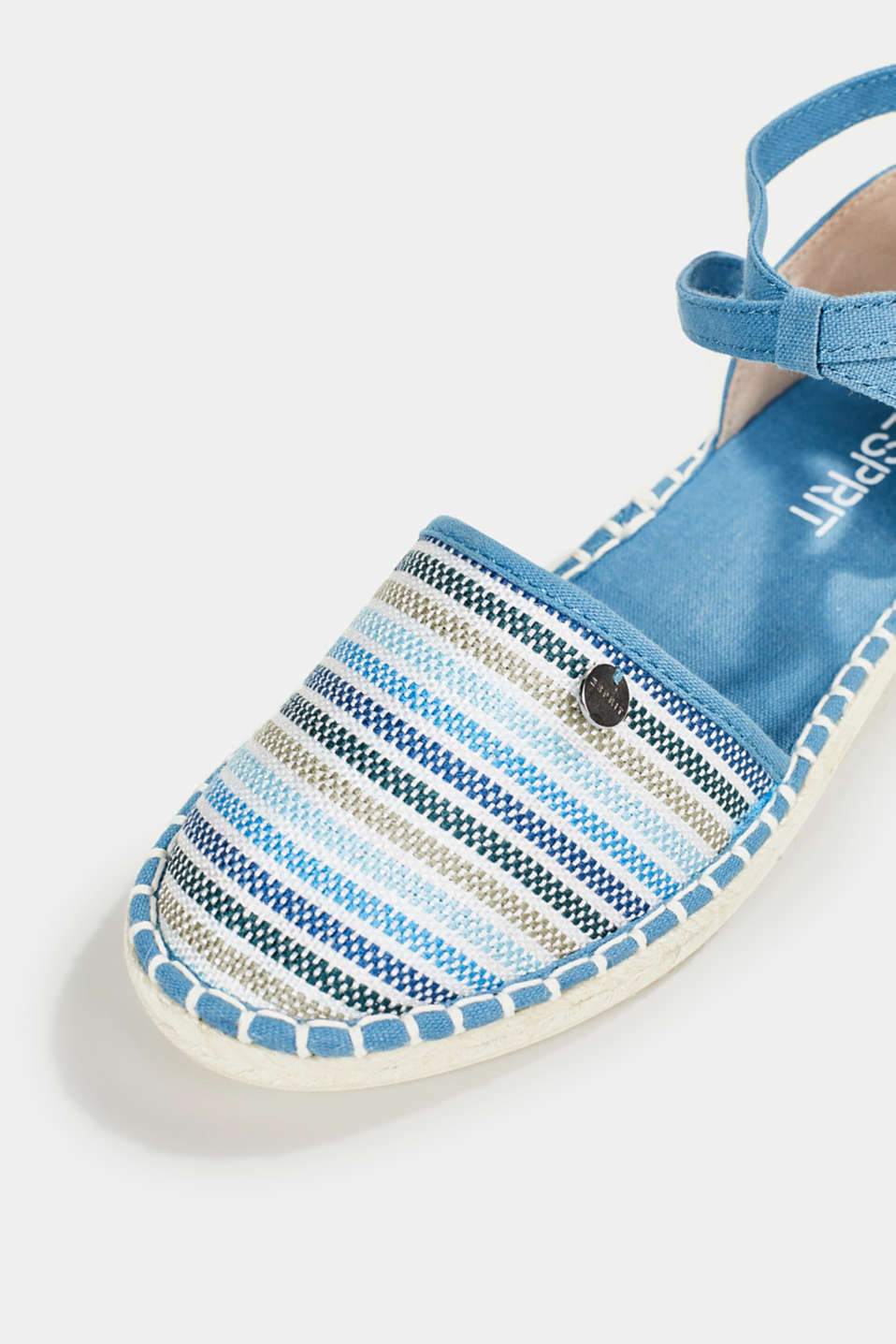 Espadrille sandals with stripes, GREY BLUE, detail image number 4