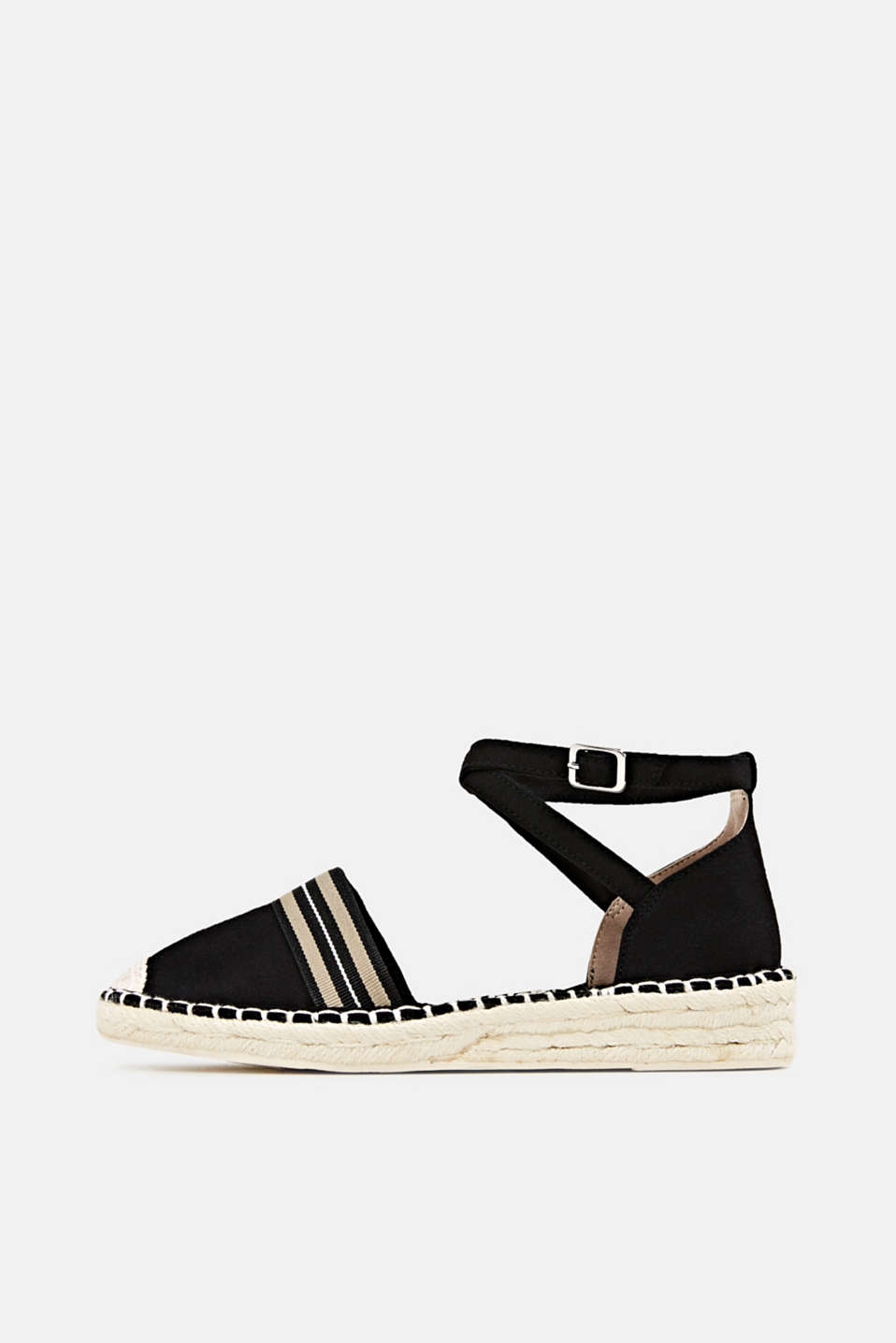 Espadrilles with an ankle strap, BLACK, detail image number 0