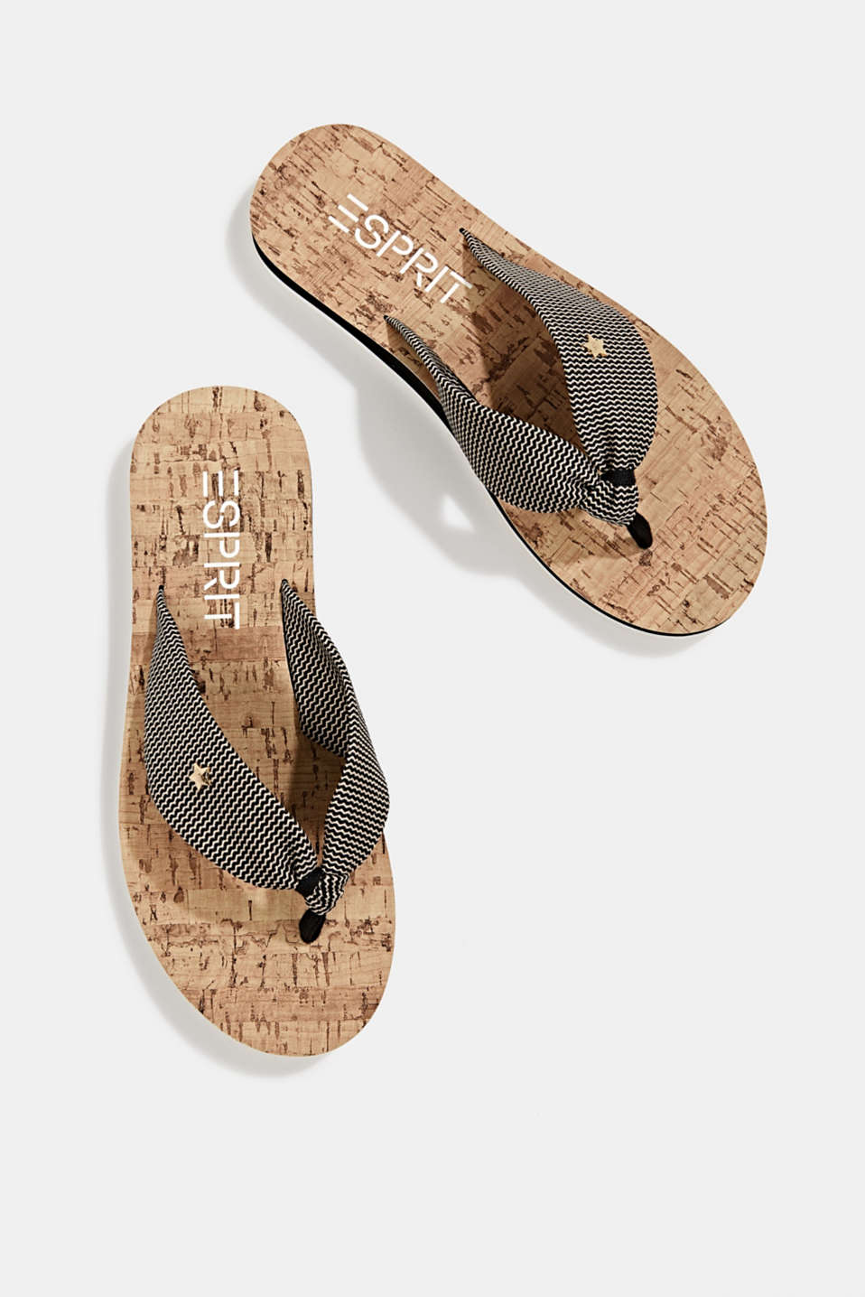 Thong sandals with a woven texture, BLACK, detail image number 1