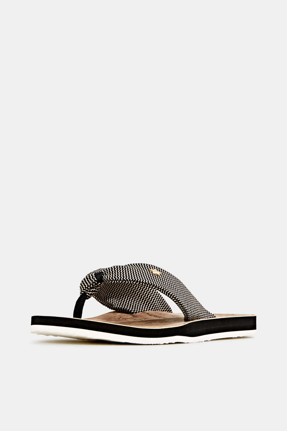 Thong sandals with a woven texture, BLACK, detail image number 2