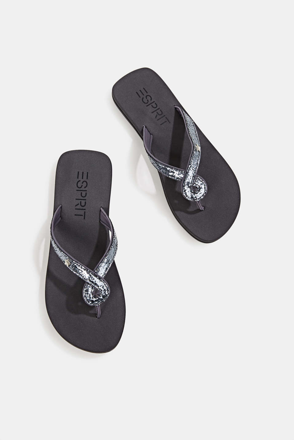 Slip slops with glittery straps, GREY, detail image number 1