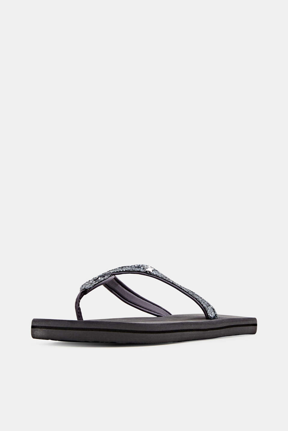 Slip slops with glittery straps, GREY, detail image number 2