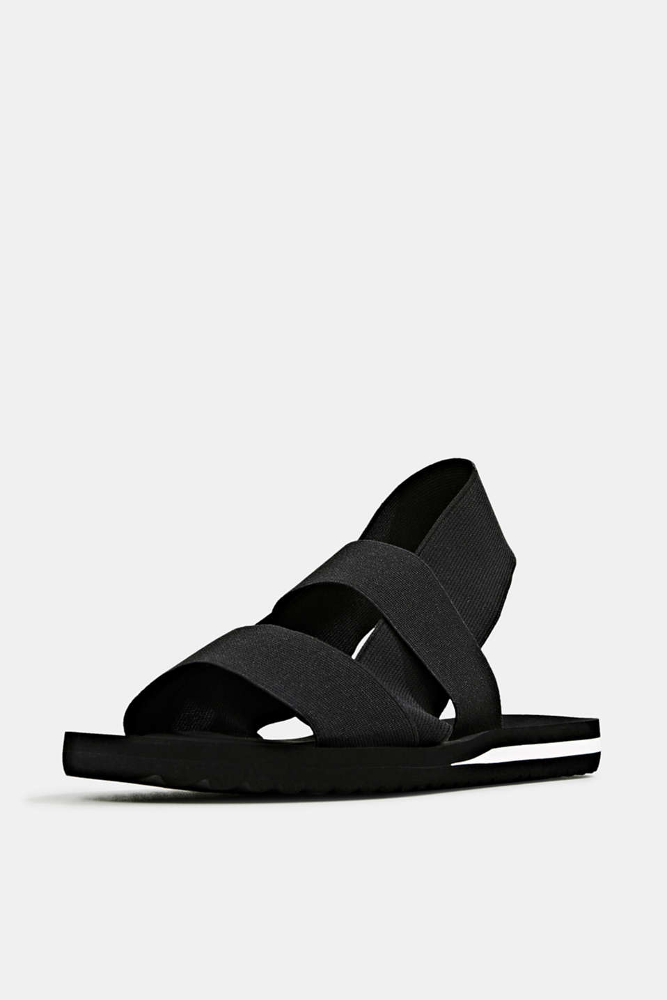 Sandals with stretchy straps, BLACK, detail image number 2
