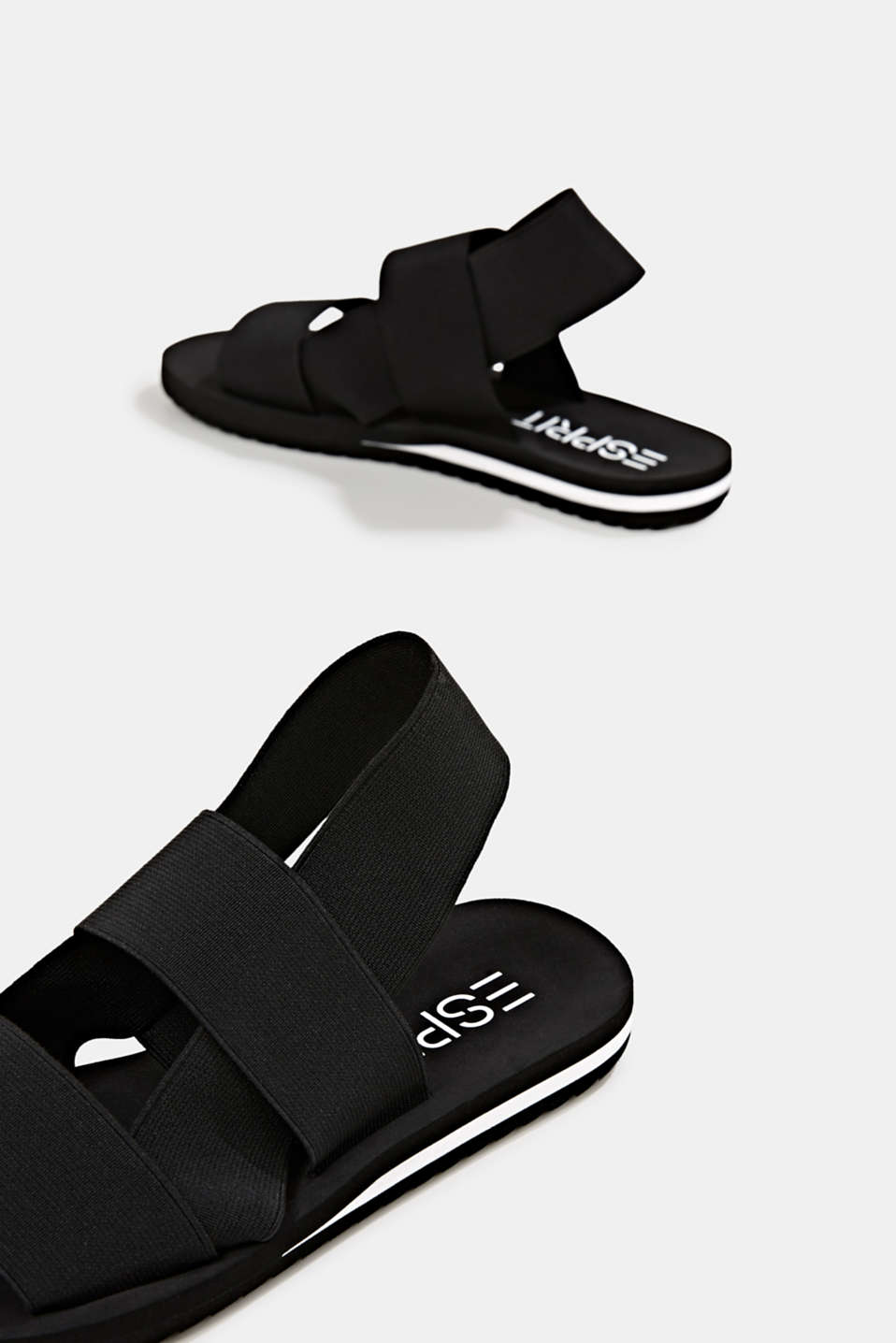 Sandals with stretchy straps, BLACK, detail image number 3