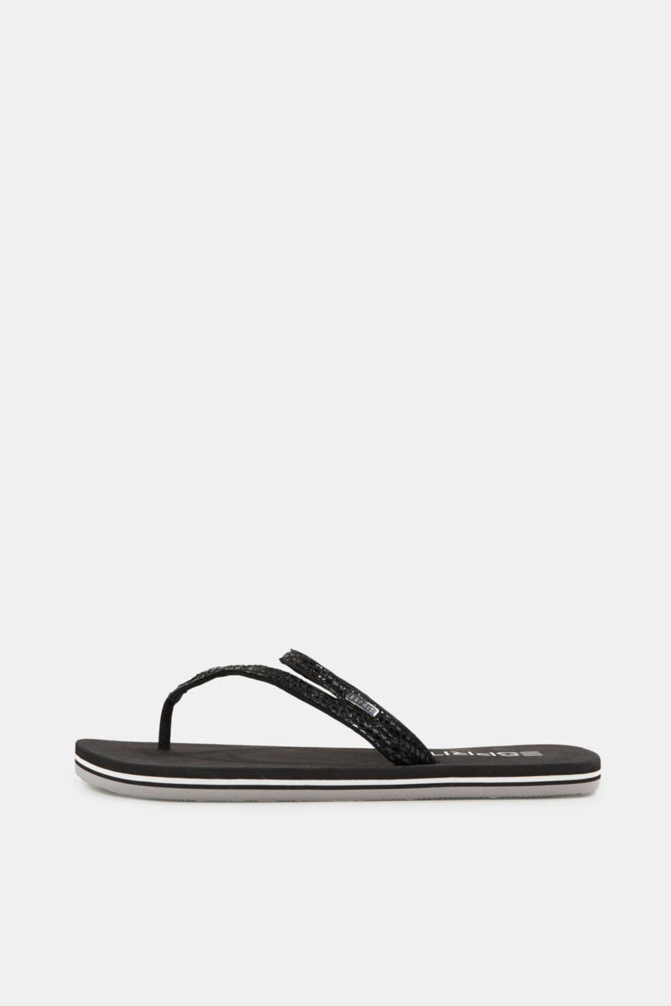 Snakeskin-effect toe-post sandals, BLACK, detail image number 0