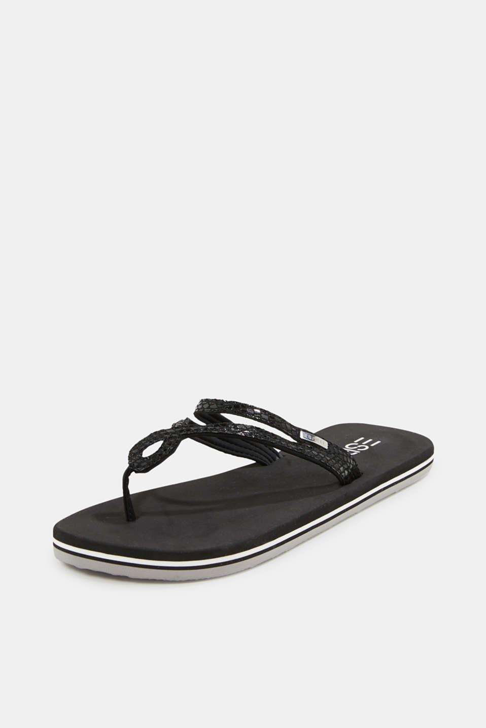 Snakeskin-effect toe-post sandals, BLACK, detail image number 1