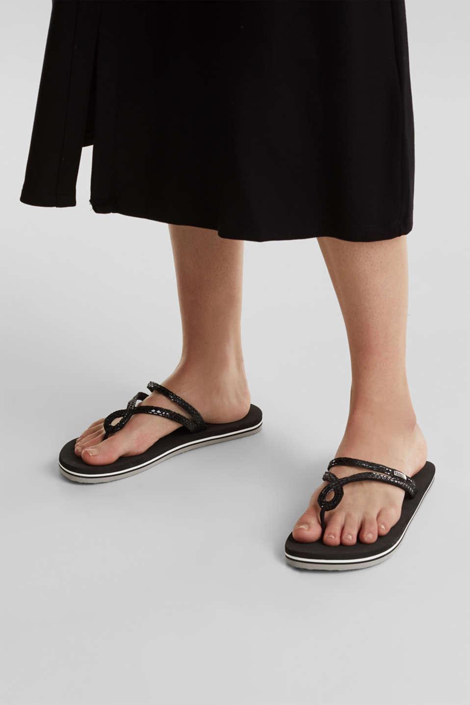 Snakeskin-effect toe-post sandals, BLACK, detail image number 2