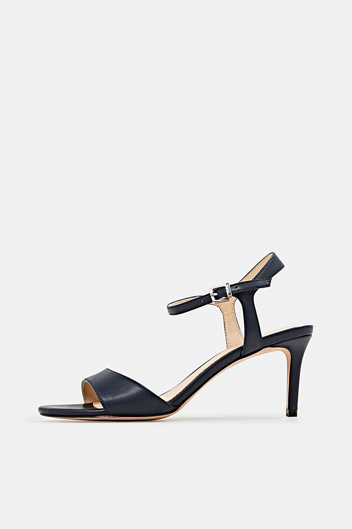 High-heeled strap sandals, NAVY, overview