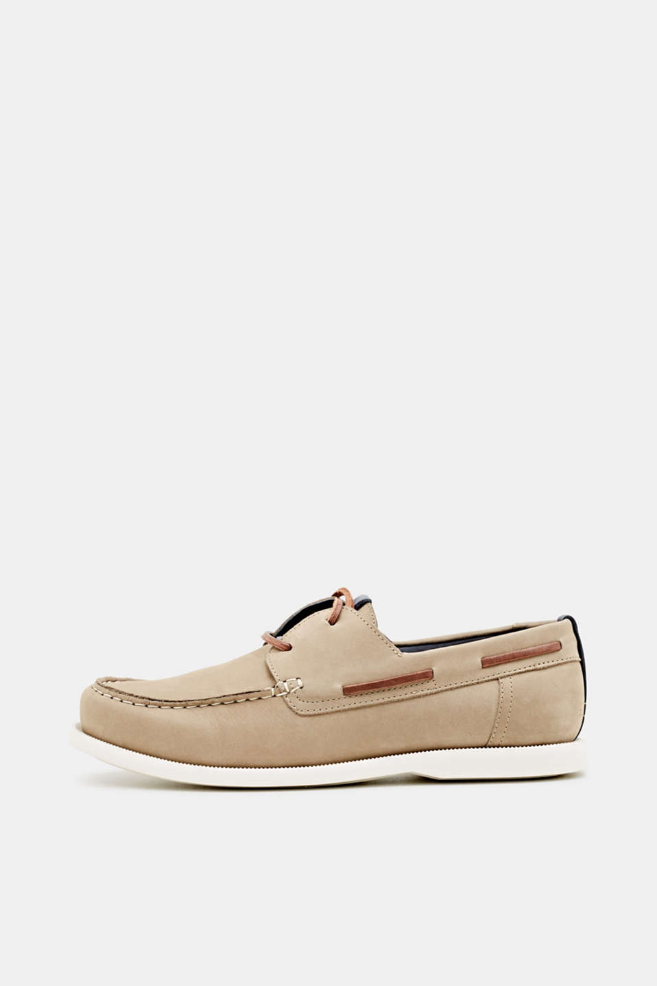 Leather boat shoes, BEIGE, detail image number 0