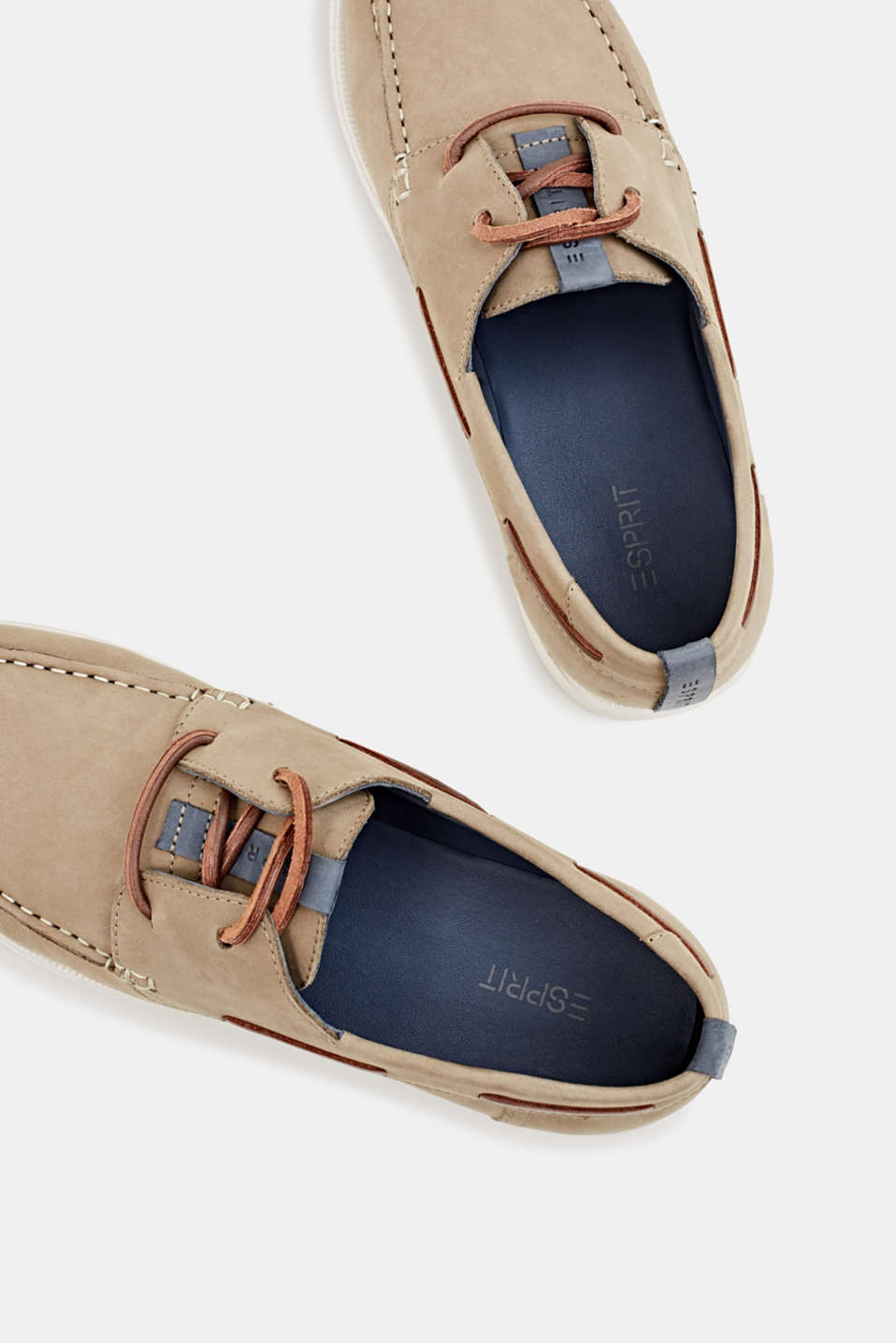 Leather boat shoes, BEIGE, detail image number 1