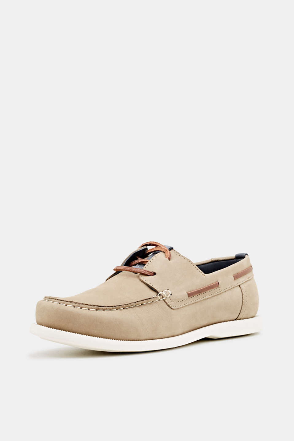 Leather boat shoes, BEIGE, detail image number 2