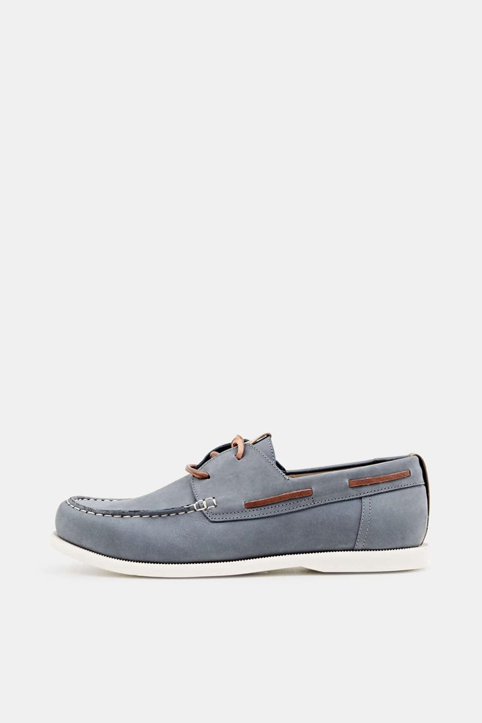 Leather boat shoes, LIGHT BLUE, detail image number 0
