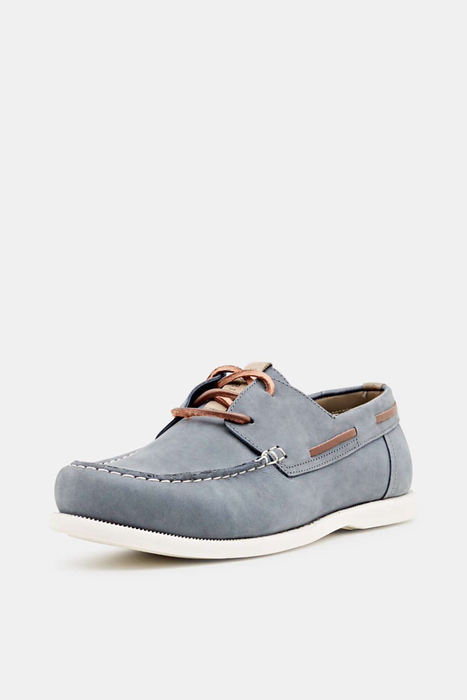 Leather boat shoes, LIGHT BLUE, detail image number 1