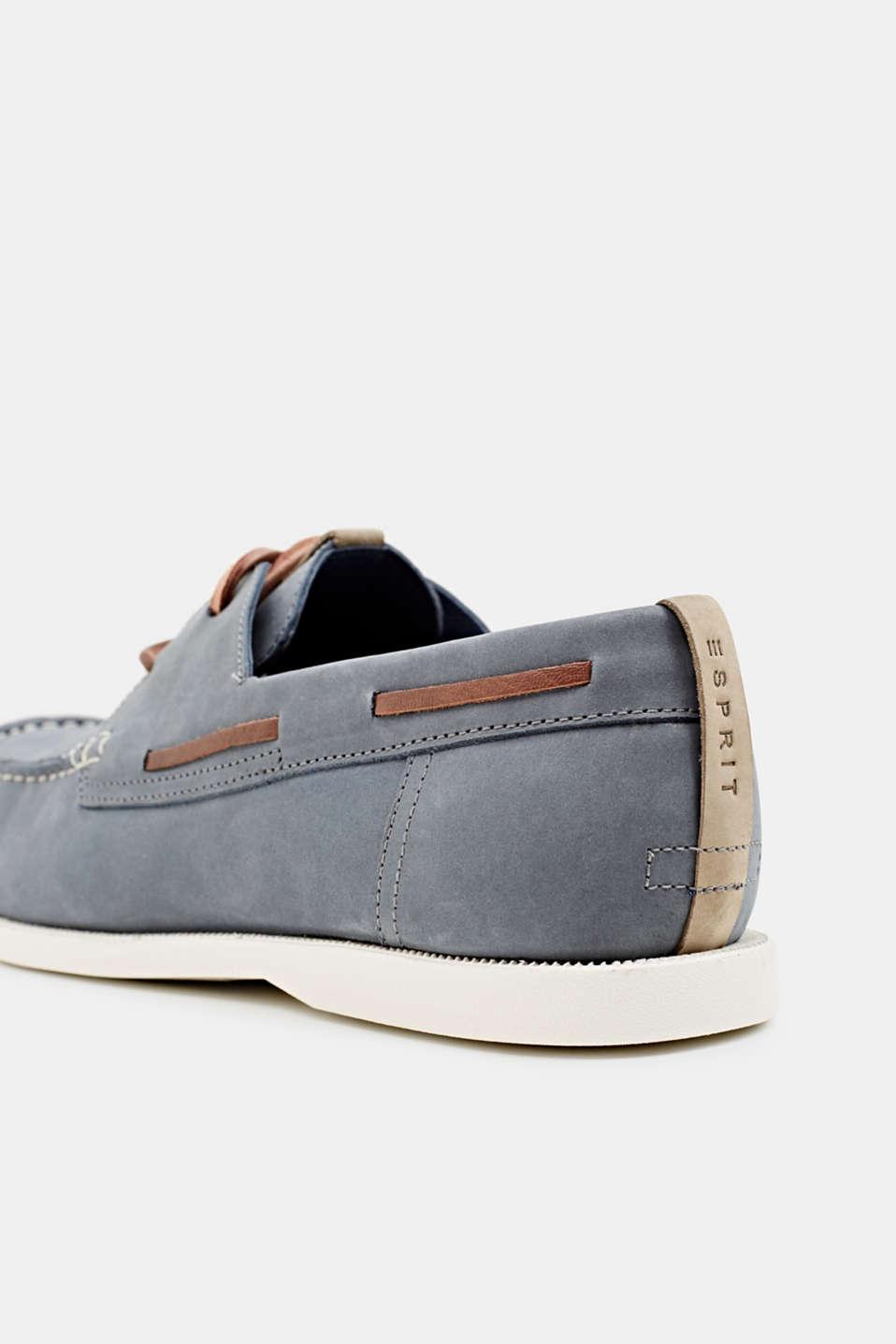 Leather boat shoes, LIGHT BLUE, detail image number 4