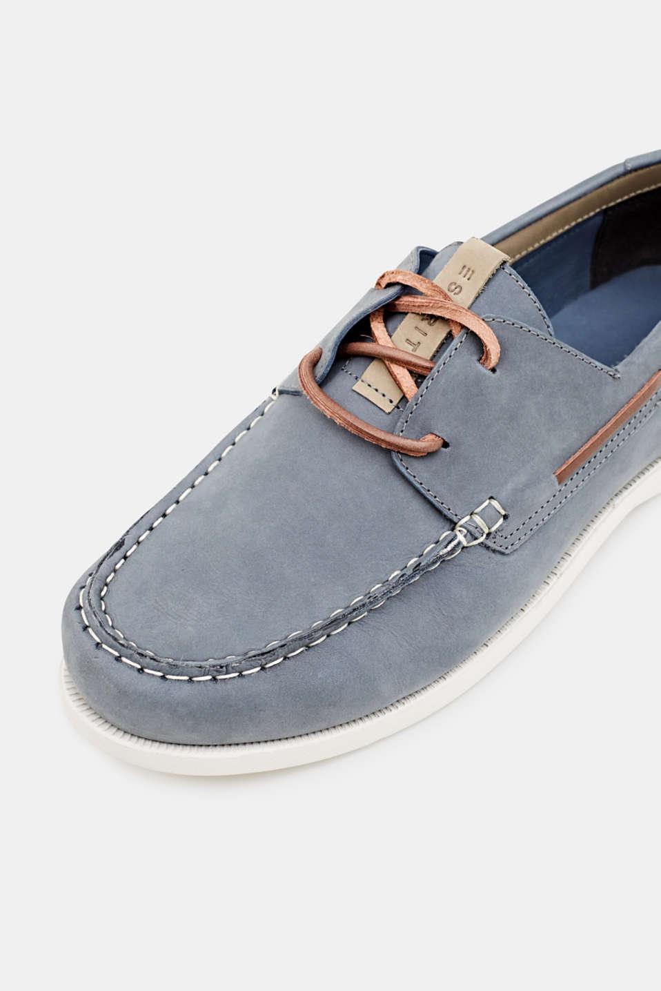 Leather boat shoes, LIGHT BLUE, detail image number 3