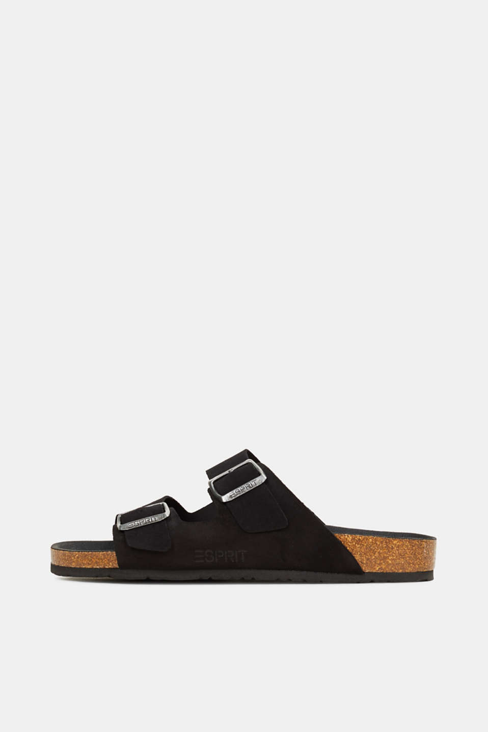 Leather slip-ons with footbed, BLACK, detail image number 0