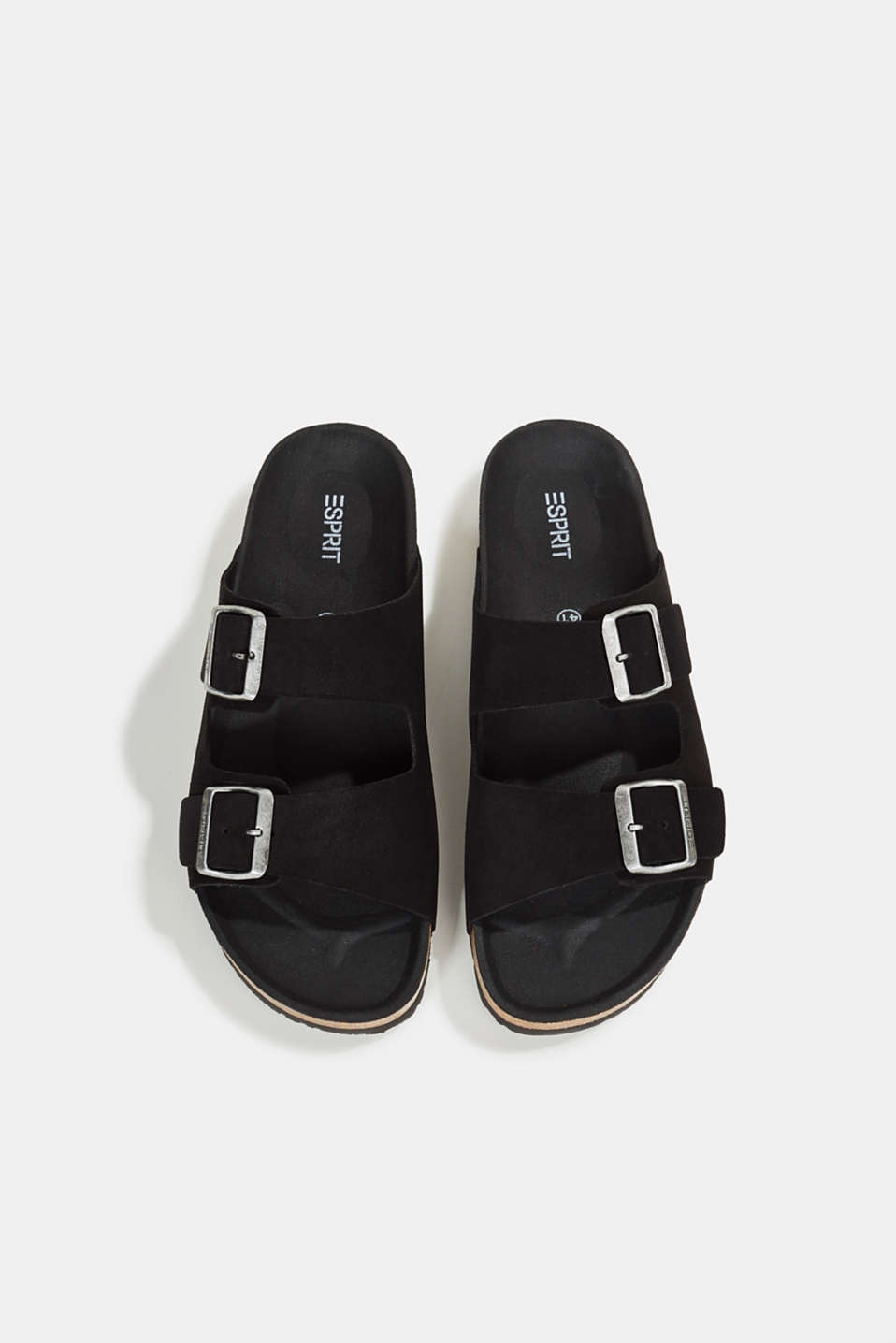 Leather slip-ons with footbed, BLACK, detail image number 1