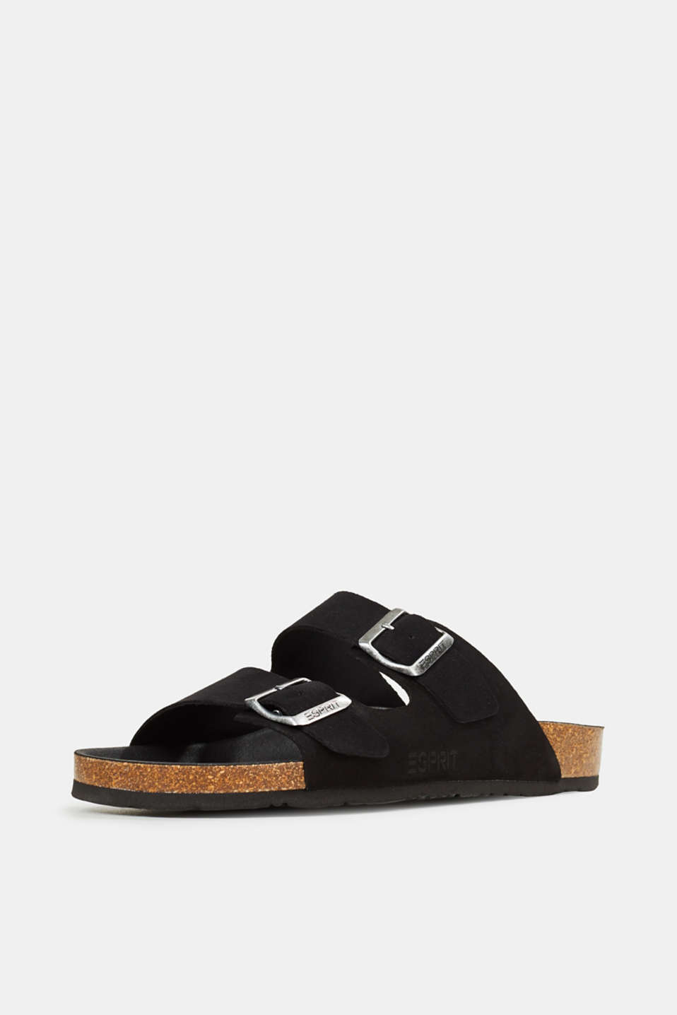 Leather slip-ons with footbed, BLACK, detail image number 2