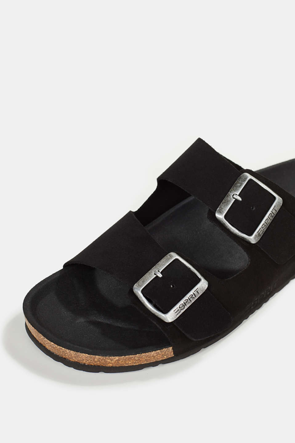 Leather slip-ons with footbed, BLACK, detail image number 4