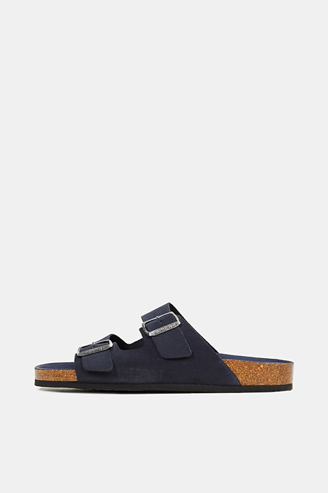 Leather slip-ons with footbed