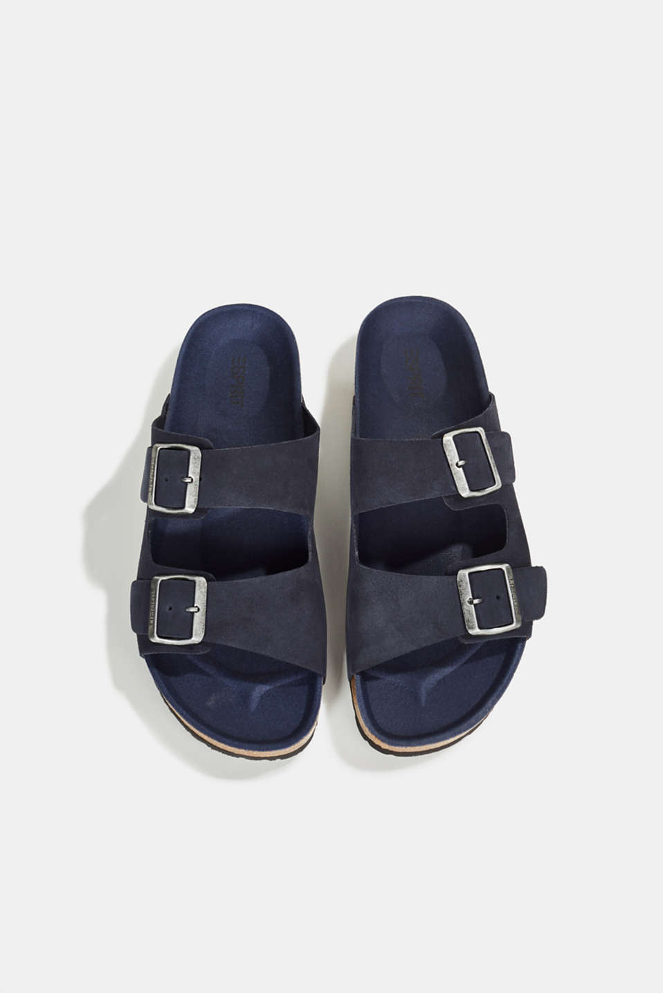 Leather slip-ons with footbed, NAVY, detail image number 1