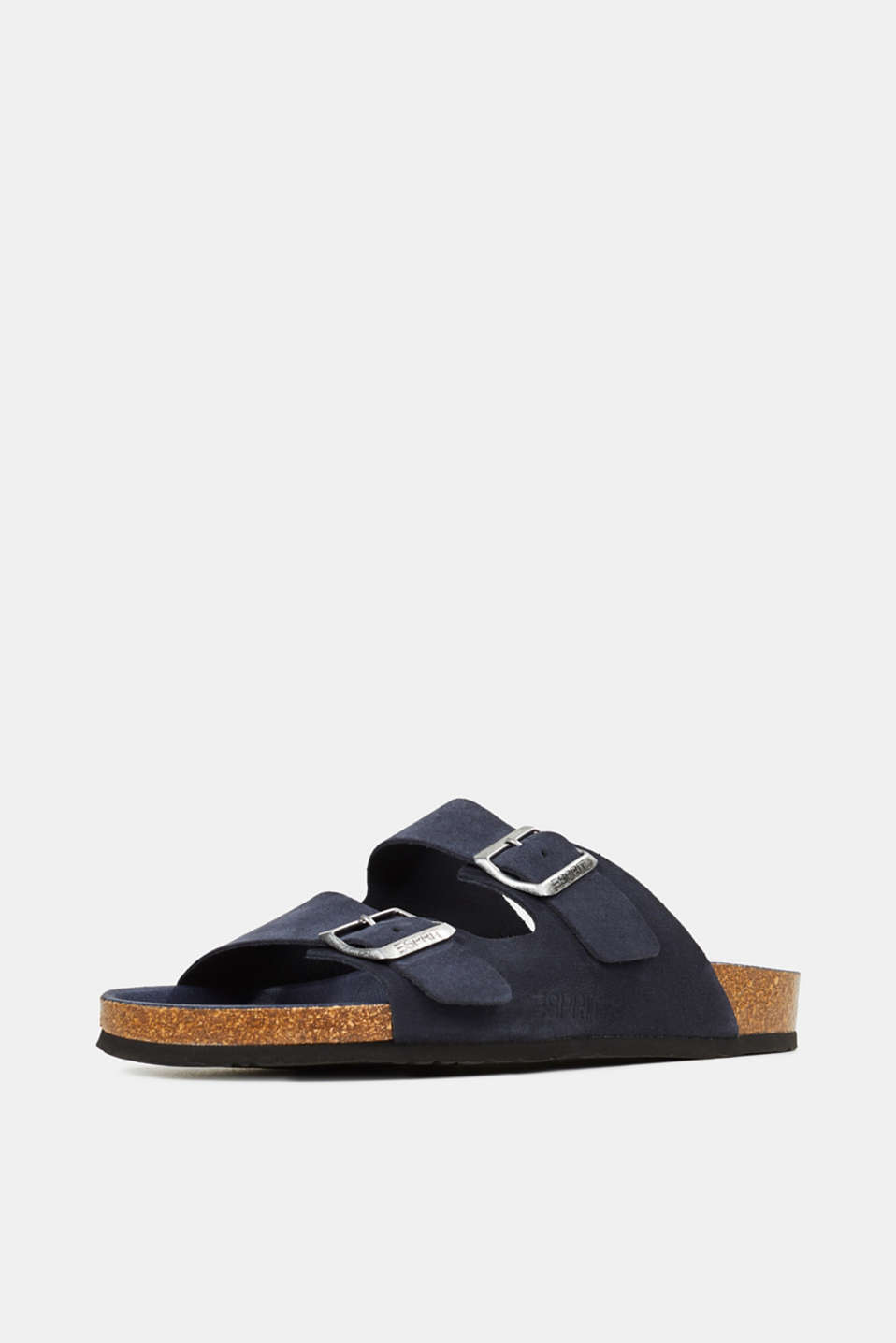 Leather slip-ons with footbed, NAVY, detail image number 2