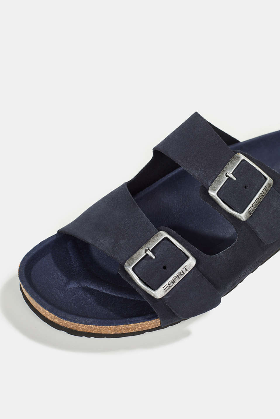 Leather slip-ons with footbed, NAVY, detail image number 4