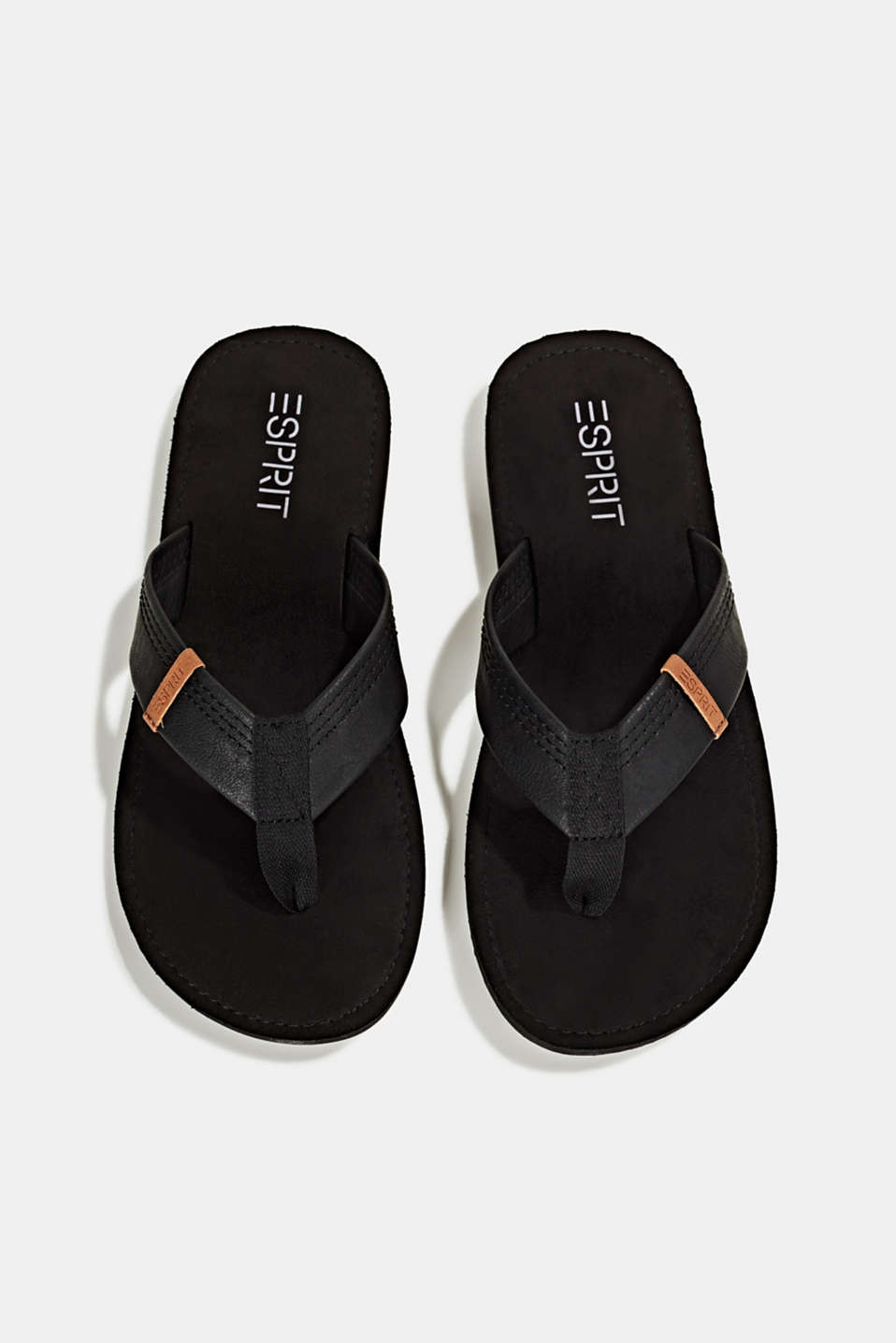 Thong sandals with a wide strap, BLACK, detail image number 1