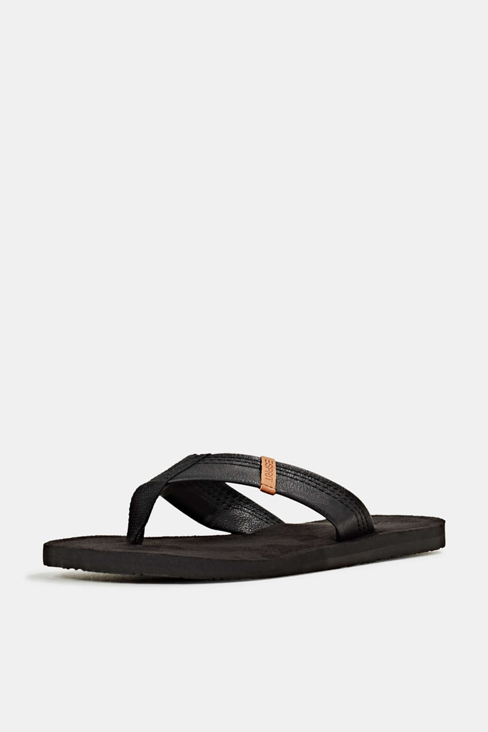 Thong sandals with a wide strap, BLACK, detail image number 2