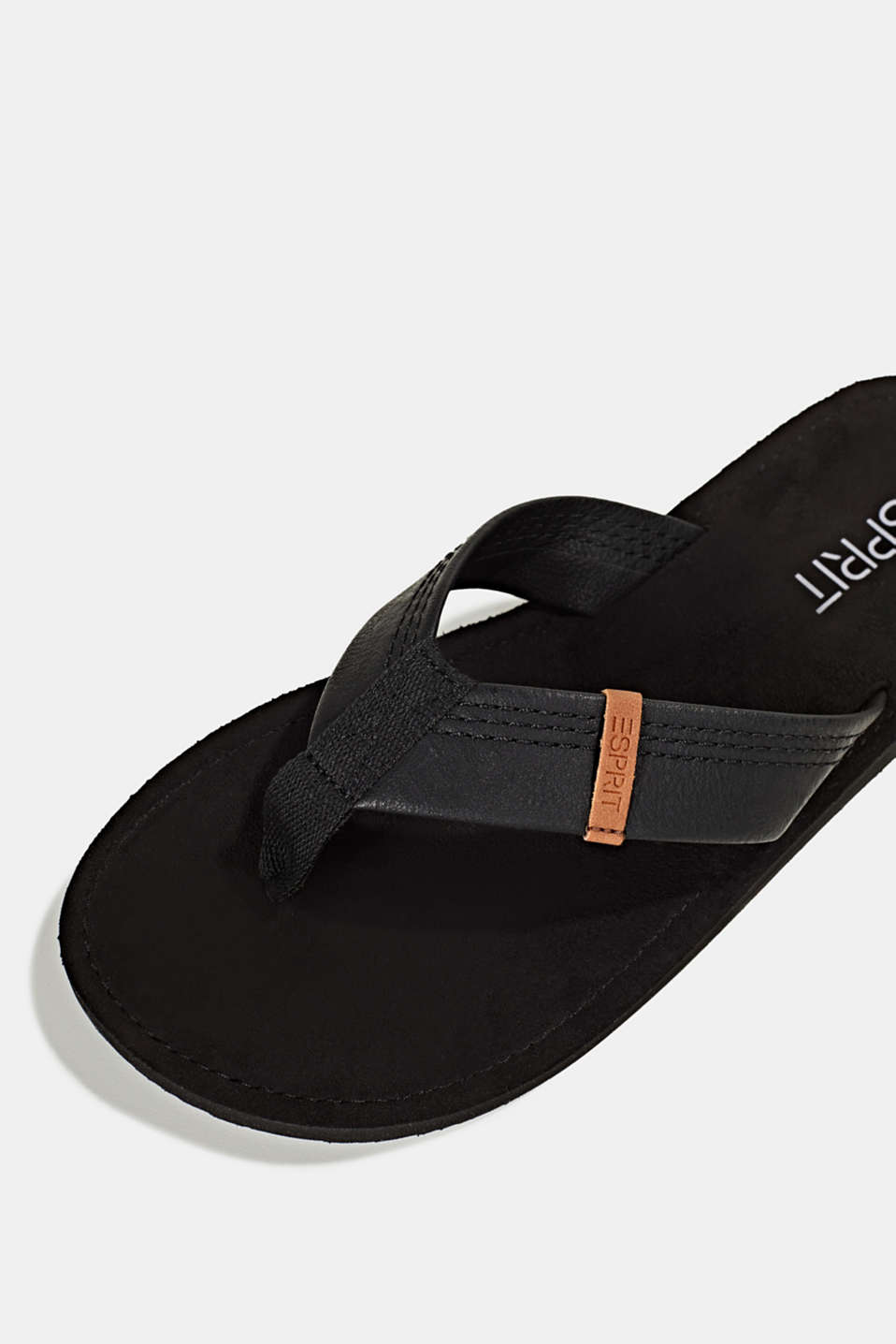 Thong sandals with a wide strap, BLACK, detail image number 4