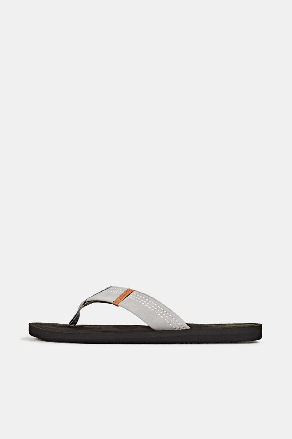 Thong sandals with a wide strap, GUNMETAL, detail image number 0