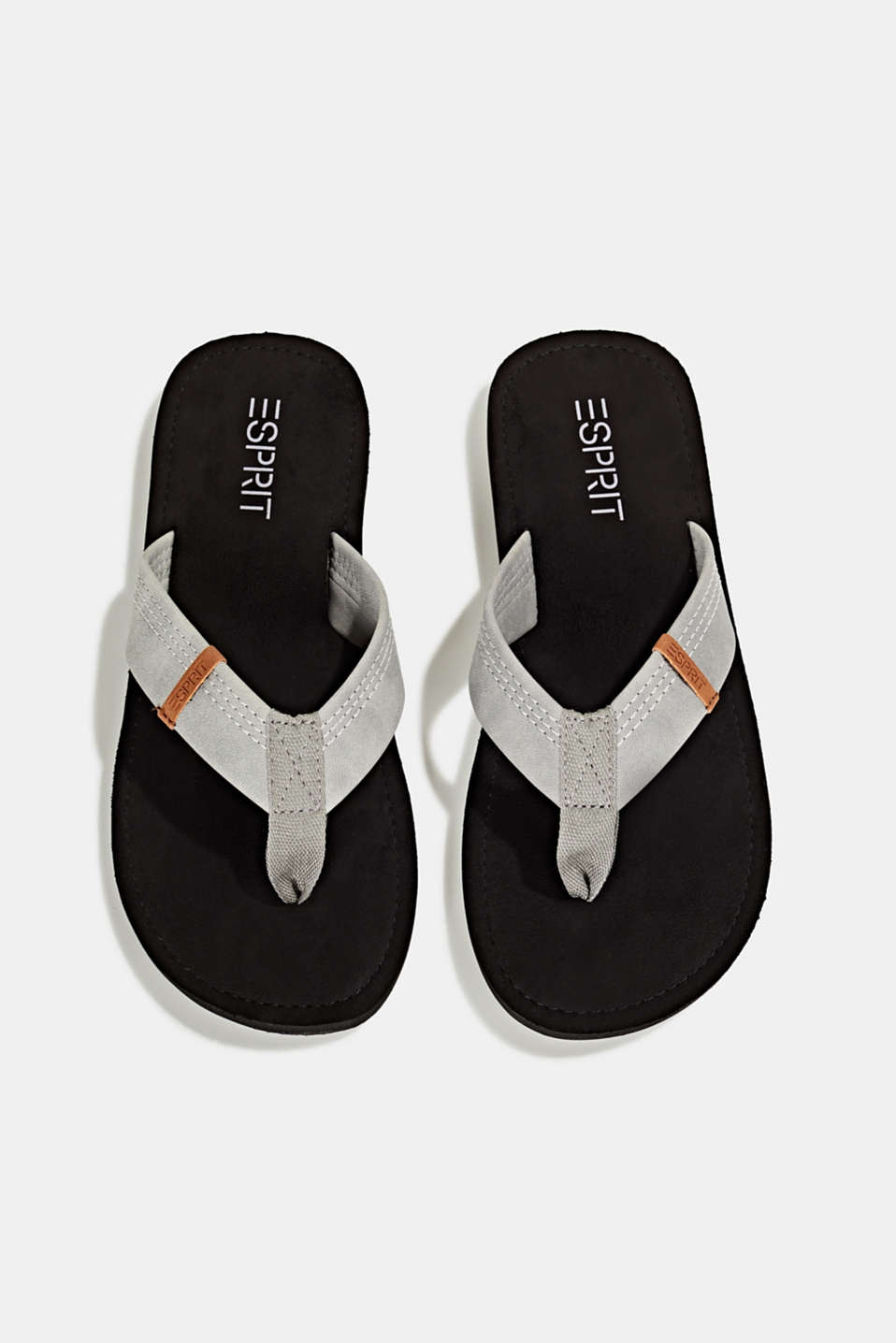 Thong sandals with a wide strap, GUNMETAL, detail image number 1