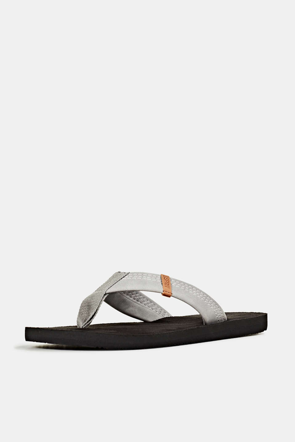 Thong sandals with a wide strap, GUNMETAL, detail image number 2