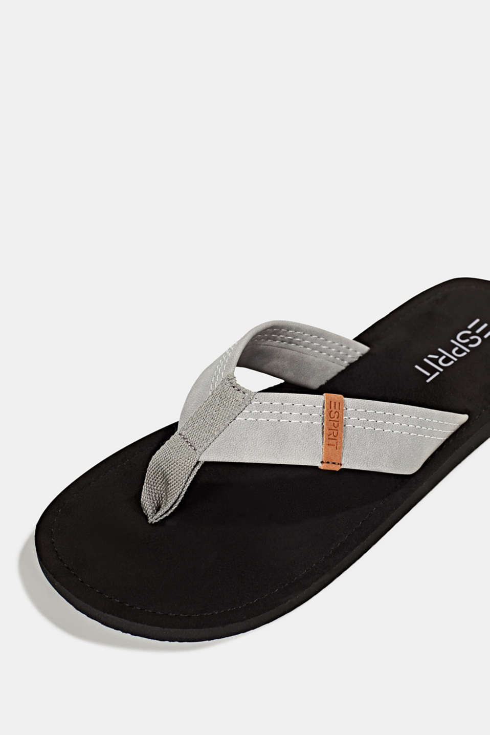 Thong sandals with a wide strap, GUNMETAL, detail image number 4