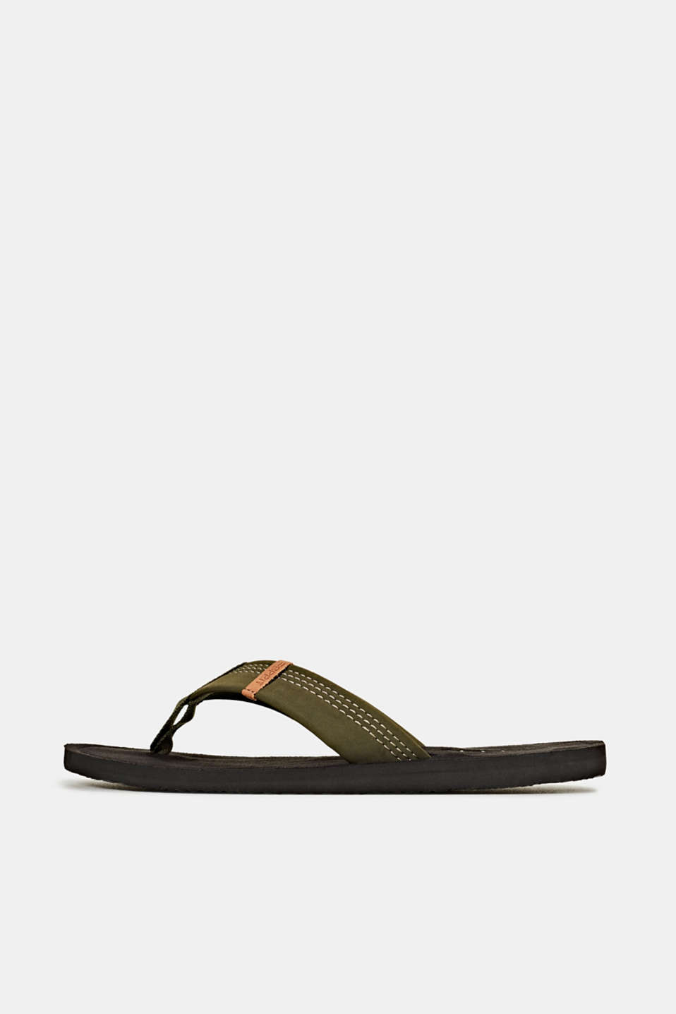 Thong sandals with a wide strap, KHAKI GREEN, detail image number 0