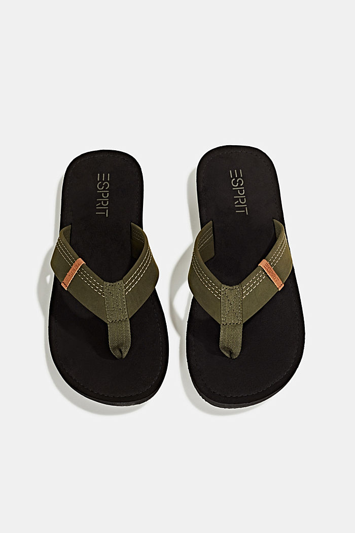 Thong sandals with a wide strap, KHAKI GREEN, detail image number 1