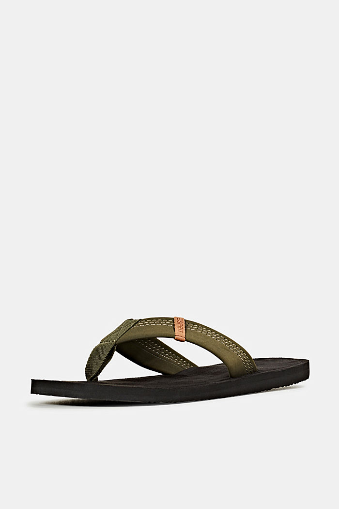 Thong sandals with a wide strap, KHAKI GREEN, detail image number 2