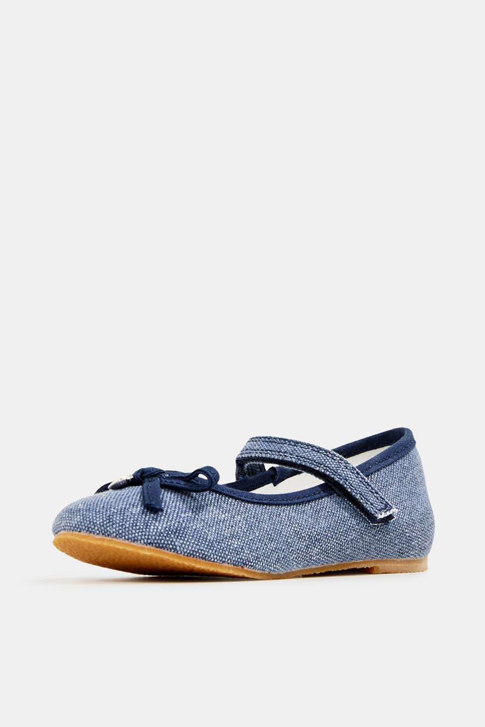 Ballerina with Velcro strap, 100% cotton, NAVY, detail image number 2