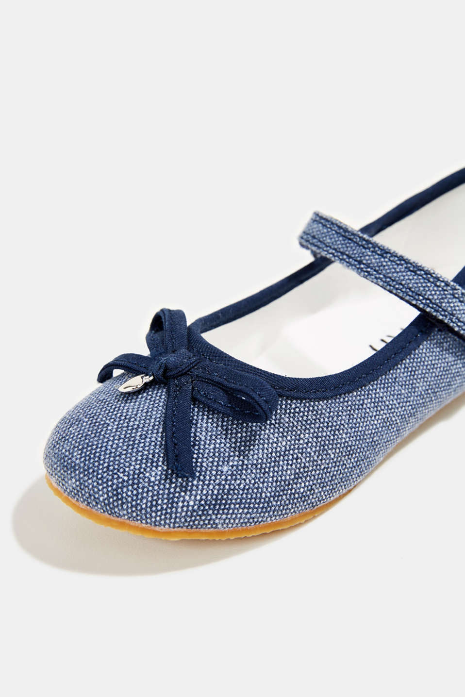 Ballerina with Velcro strap, 100% cotton, NAVY, detail image number 4