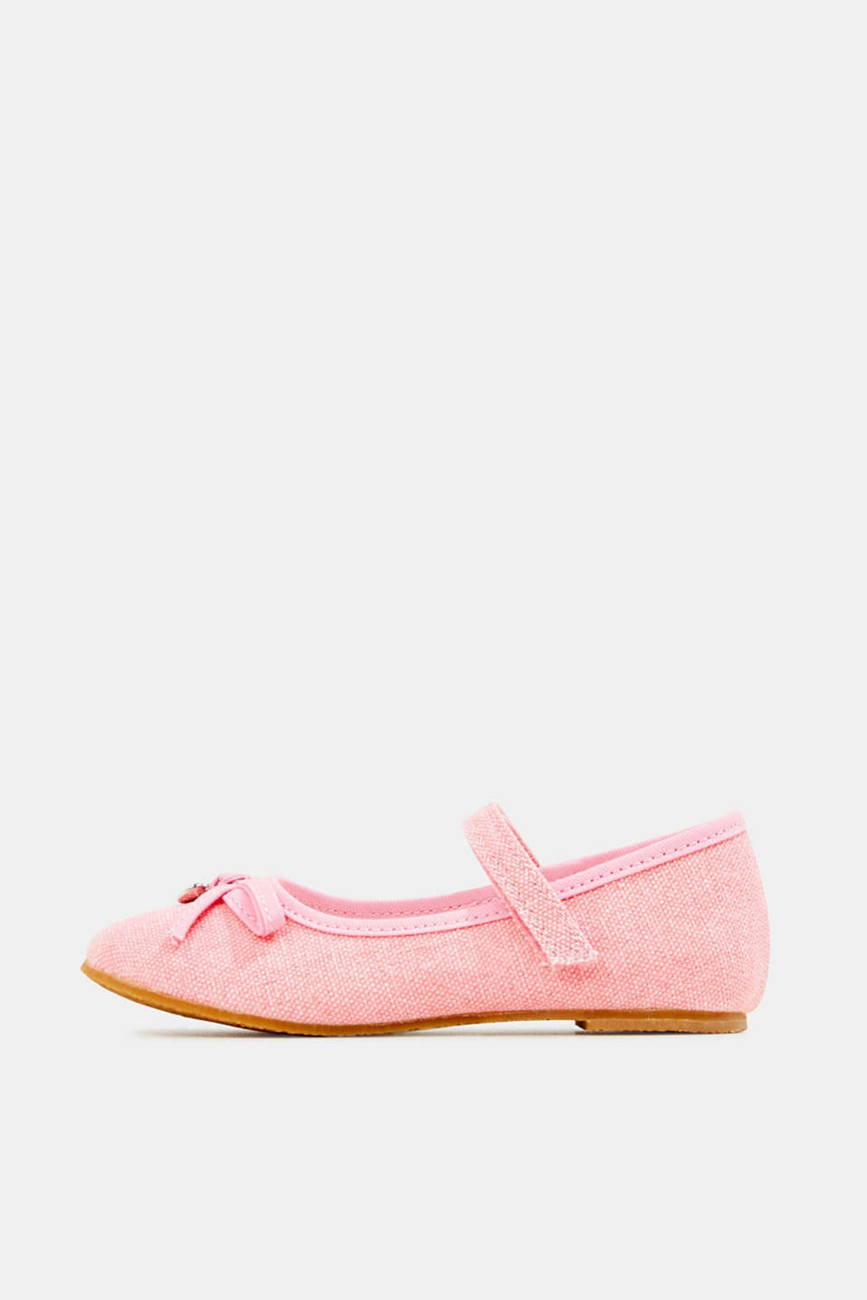 Ballerina with Velcro strap, 100% cotton, PINK, detail image number 0