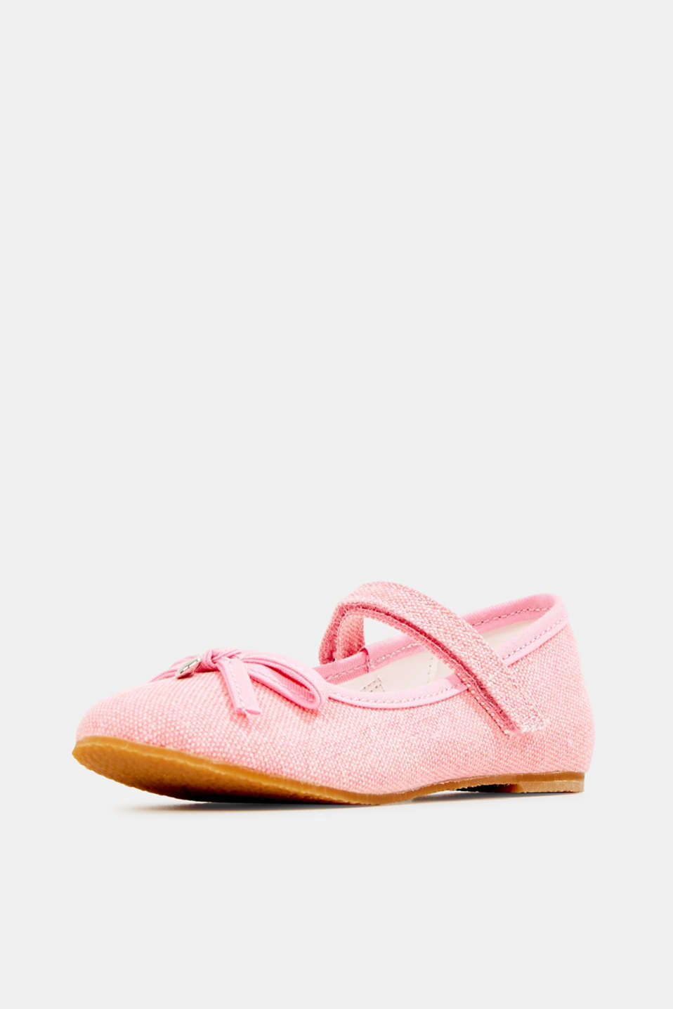 Ballerina with Velcro strap, 100% cotton, PINK, detail image number 2