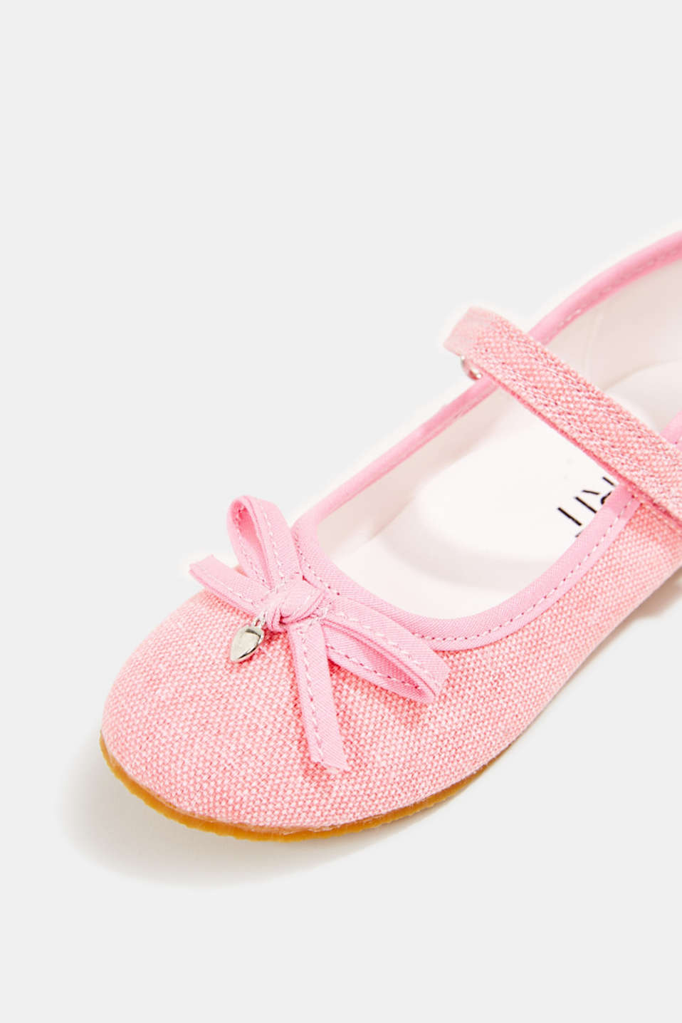 Ballerina with Velcro strap, 100% cotton, PINK, detail image number 3