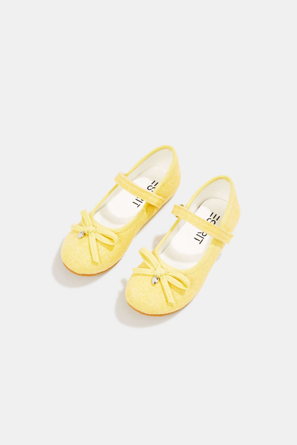 Ballerina with Velcro strap, 100% cotton, YELLOW, detail image number 1