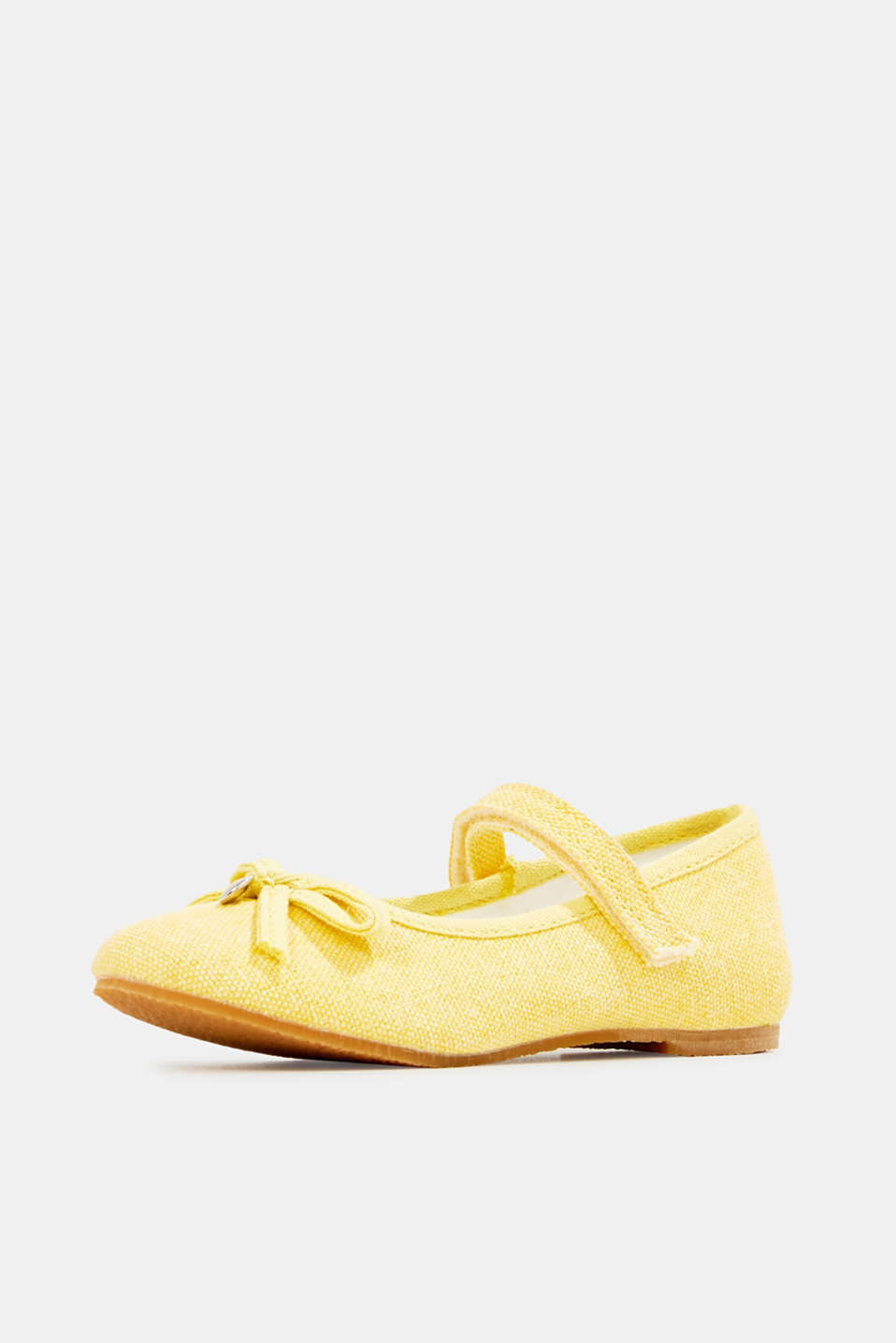 Ballerina with Velcro strap, 100% cotton, YELLOW, detail image number 2