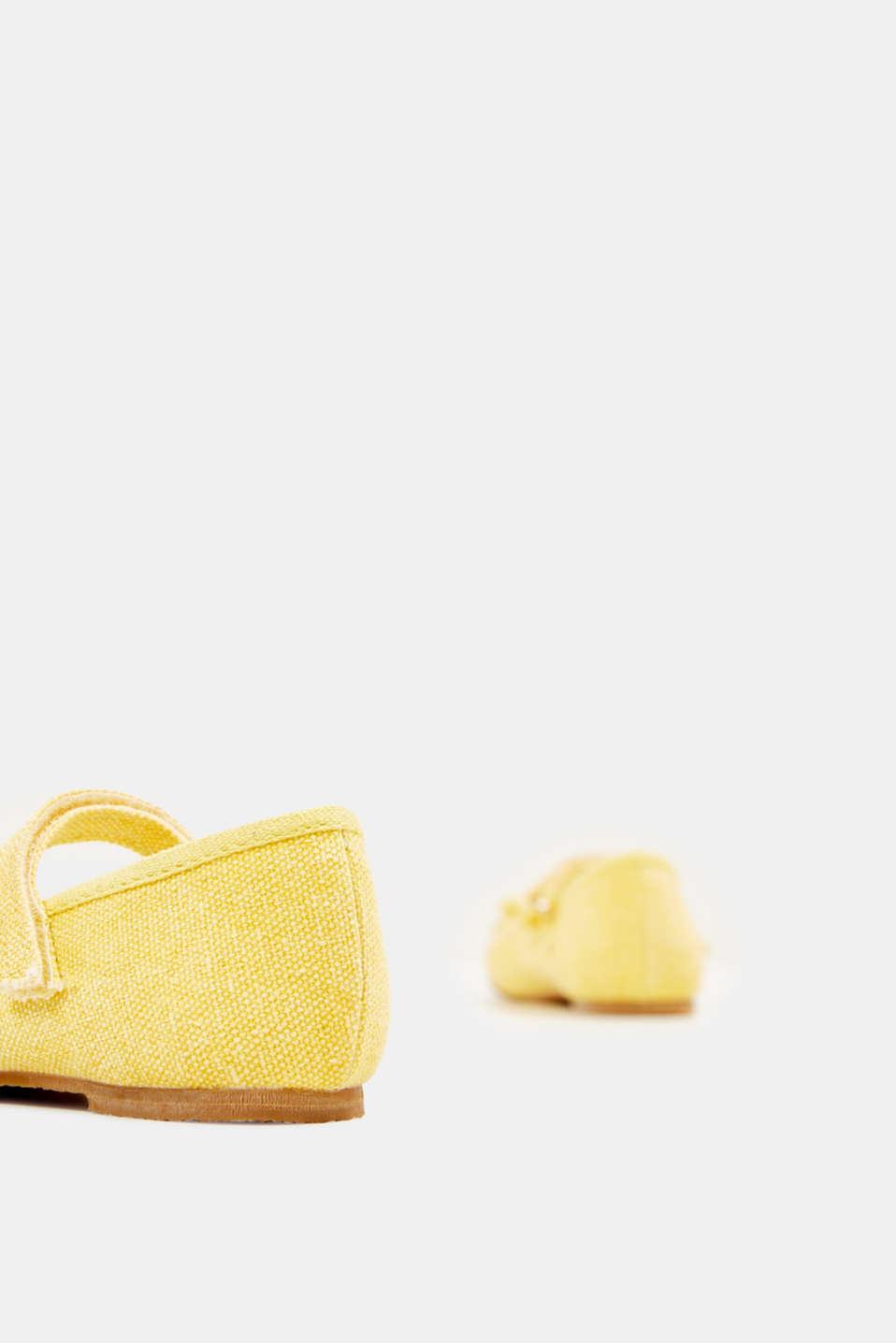 Ballerina with Velcro strap, 100% cotton, YELLOW, detail image number 4