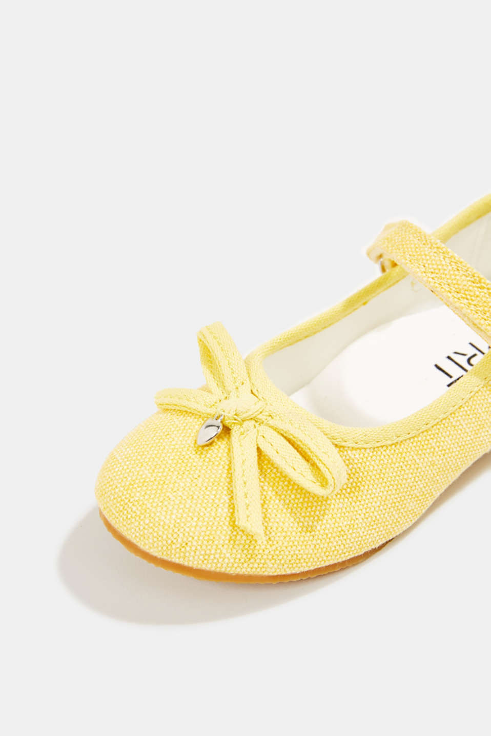Ballerina with Velcro strap, 100% cotton, YELLOW, detail image number 3