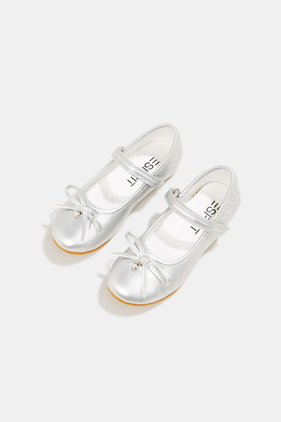 Ballerinas with Velcro straps, in faux leather, SILVER, detail image number 1
