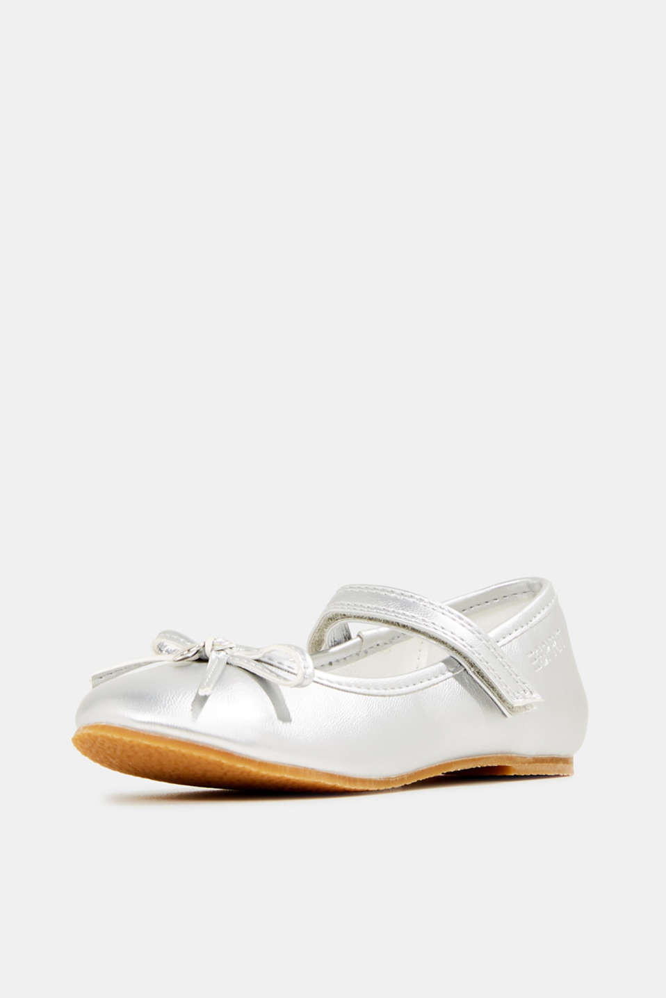 Ballerinas with Velcro straps, in faux leather, SILVER, detail image number 2